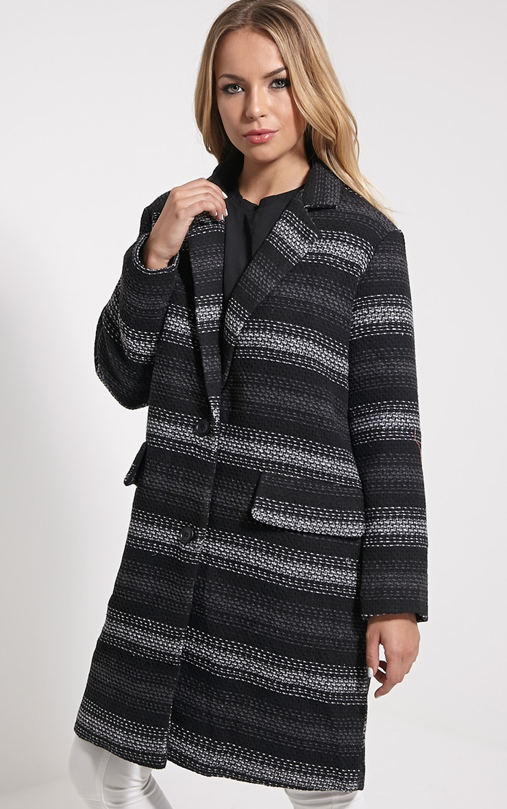 Zahli Grey Oversized Stripe Coat 2