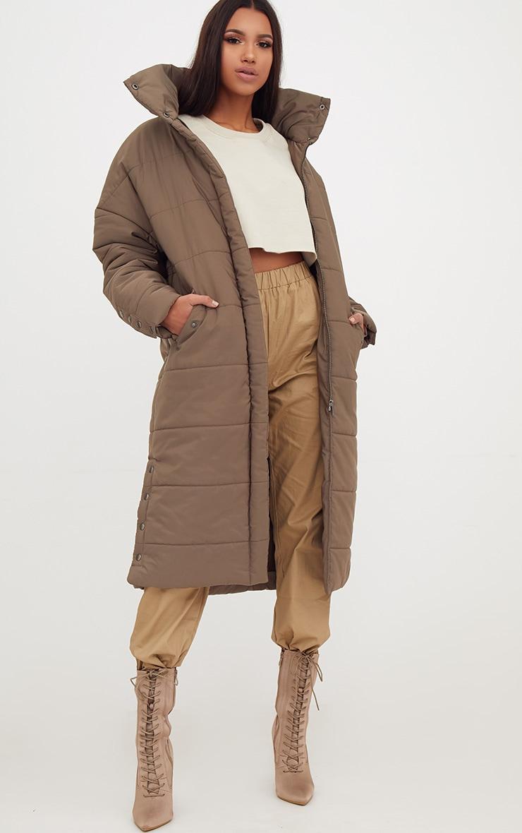 Premium Khaki Longline Puffer Jacket 1