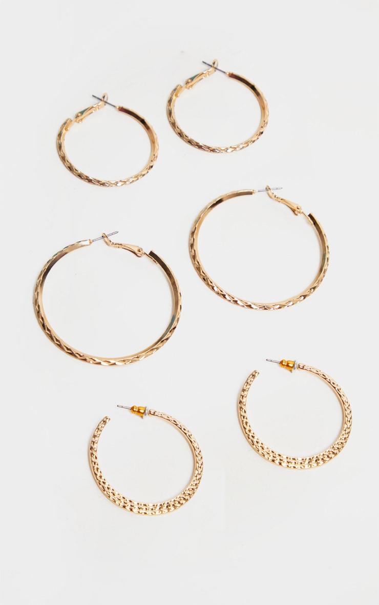 Lot de créoles texturées dorées - Formats variés 1