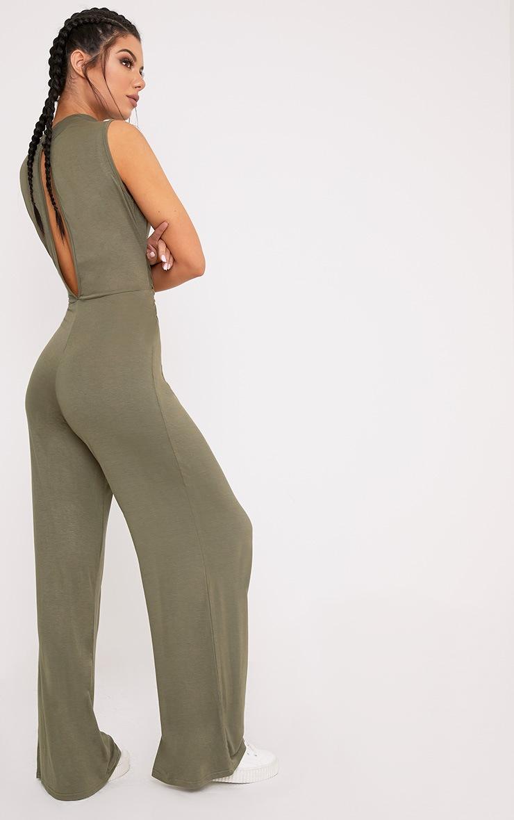 Aila Khaki Knot Front Wide Leg Jumpsuit  2