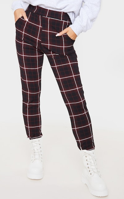Red Check Skinny Trouser