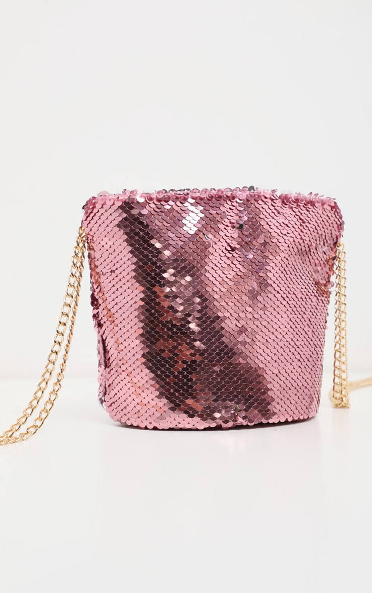 Pink Sequin Pouch Chain Strap Cross Body 2