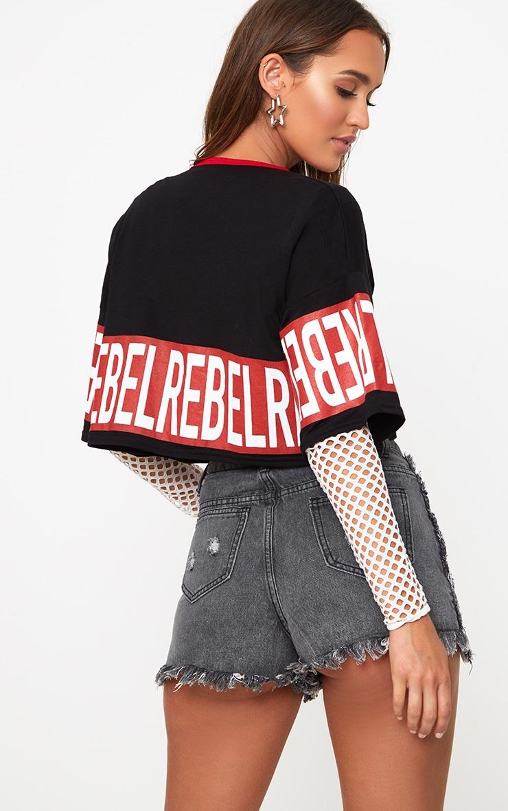 Black REBEL Slogan Oversized Cropped T-Shirt 2