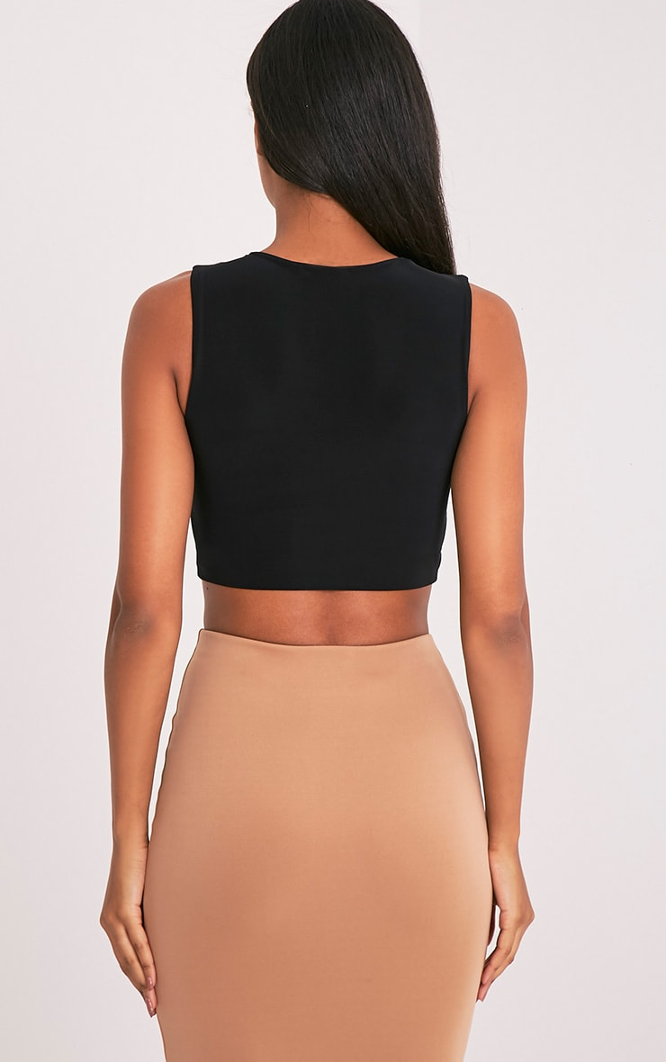 Mixie Black Slinky Cut Out Sleeveless Crop Top 2