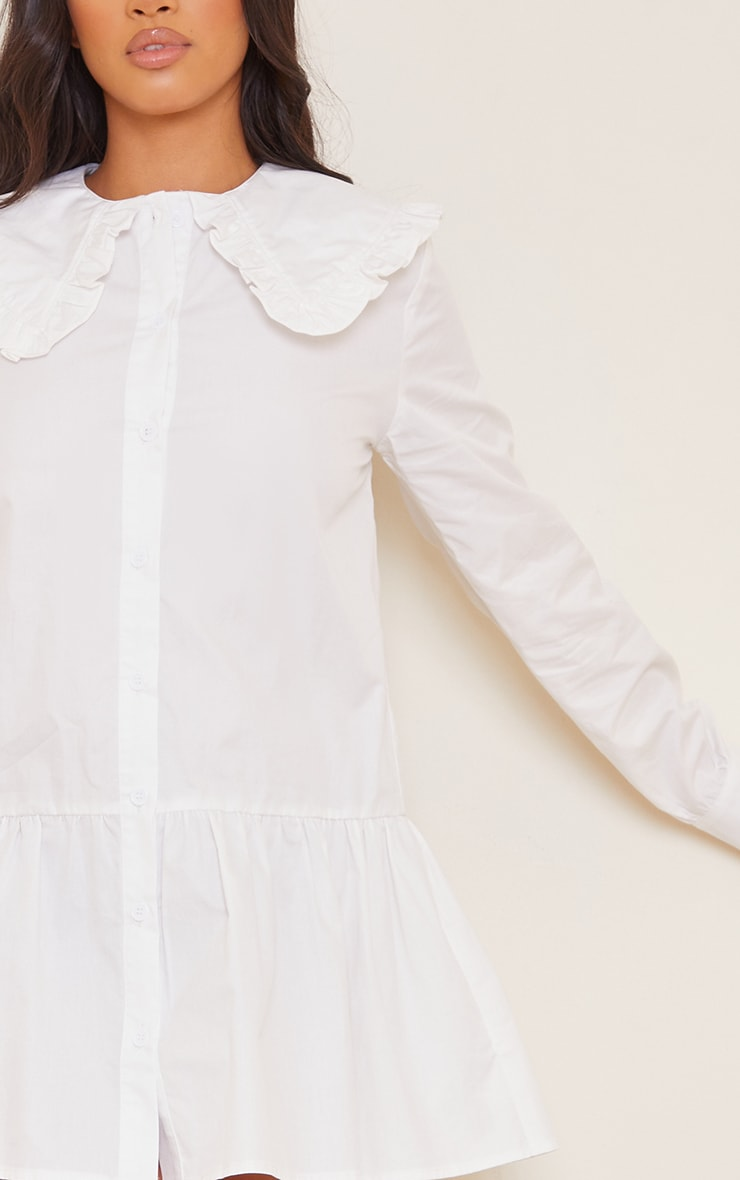 Petite White Oversized Collar Shirt Dress 4