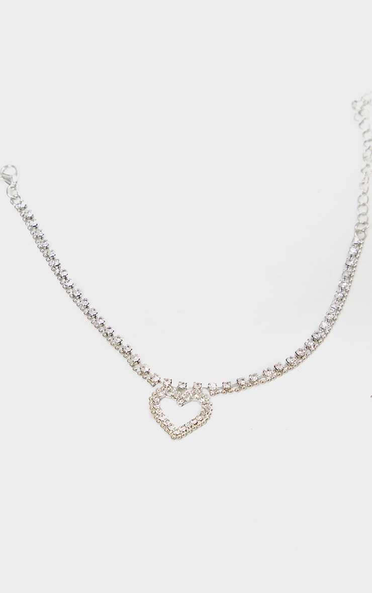 Silver Diamante Heart Anklet 2