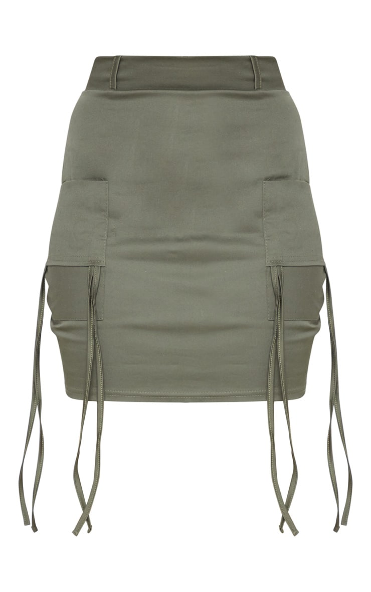 Petite Khaki Fitted Cargo Mini Skirt 3