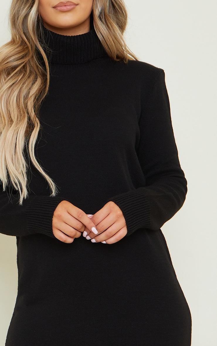 Black Roll Neck Shoulder Pad Knitted Midi Jumper Dress 4