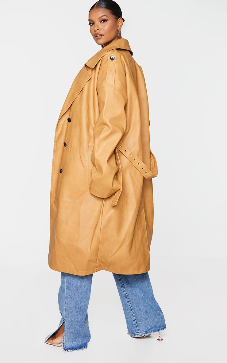 Plus Camel Faux Leather Drop Arm Midi Trench 2