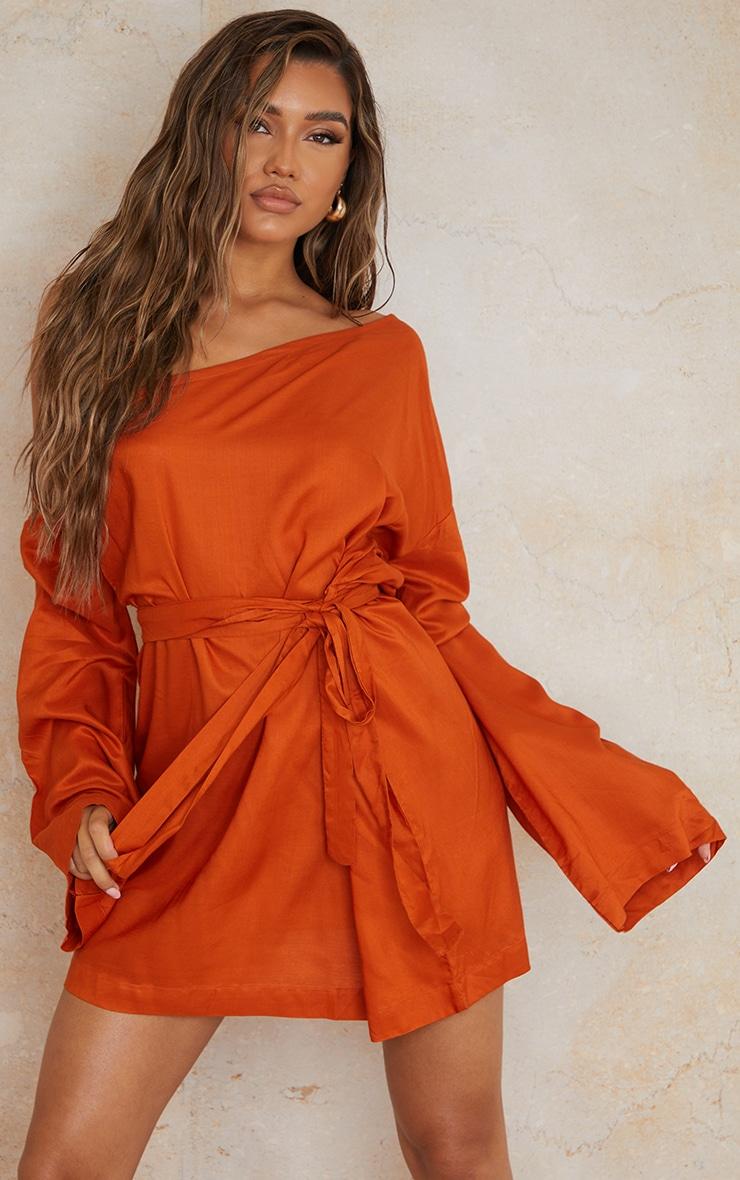 Terracotta One Shoulder Tie Wrap Detail Shift Dress 3