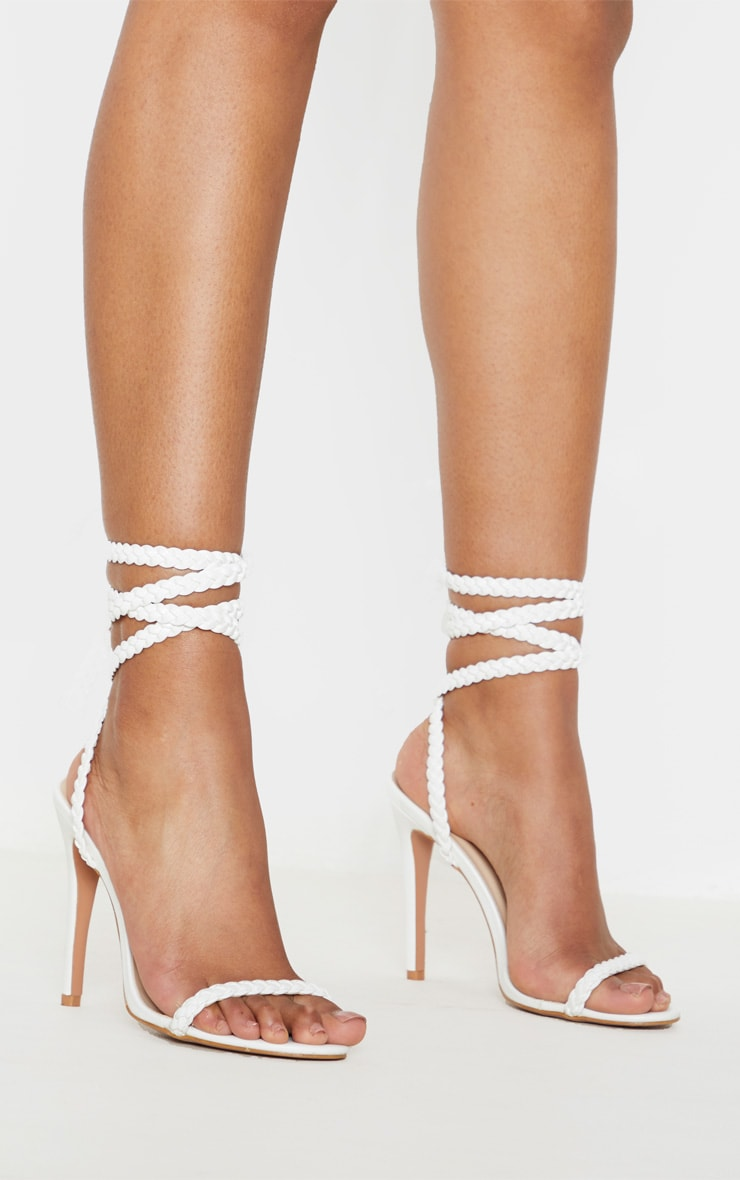 White Plaited Lace Up Ankle Tie Sandal 2