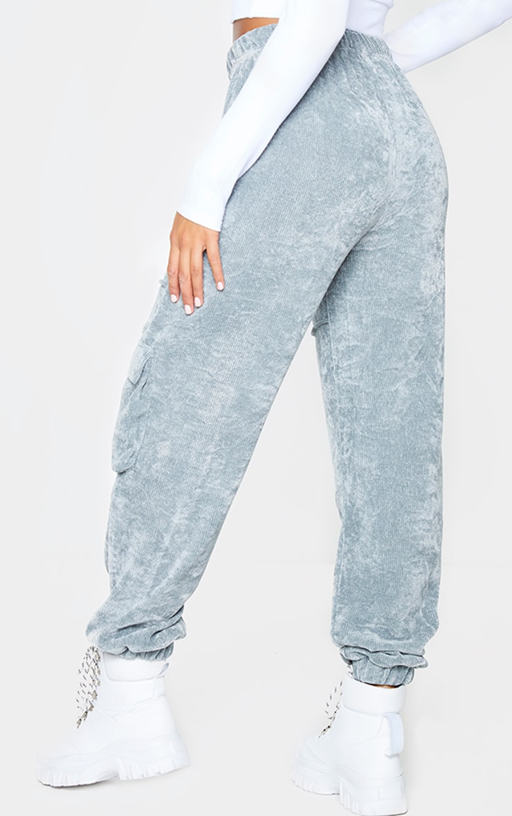 Light Grey Textured Velour Seam Detail Joggers 3