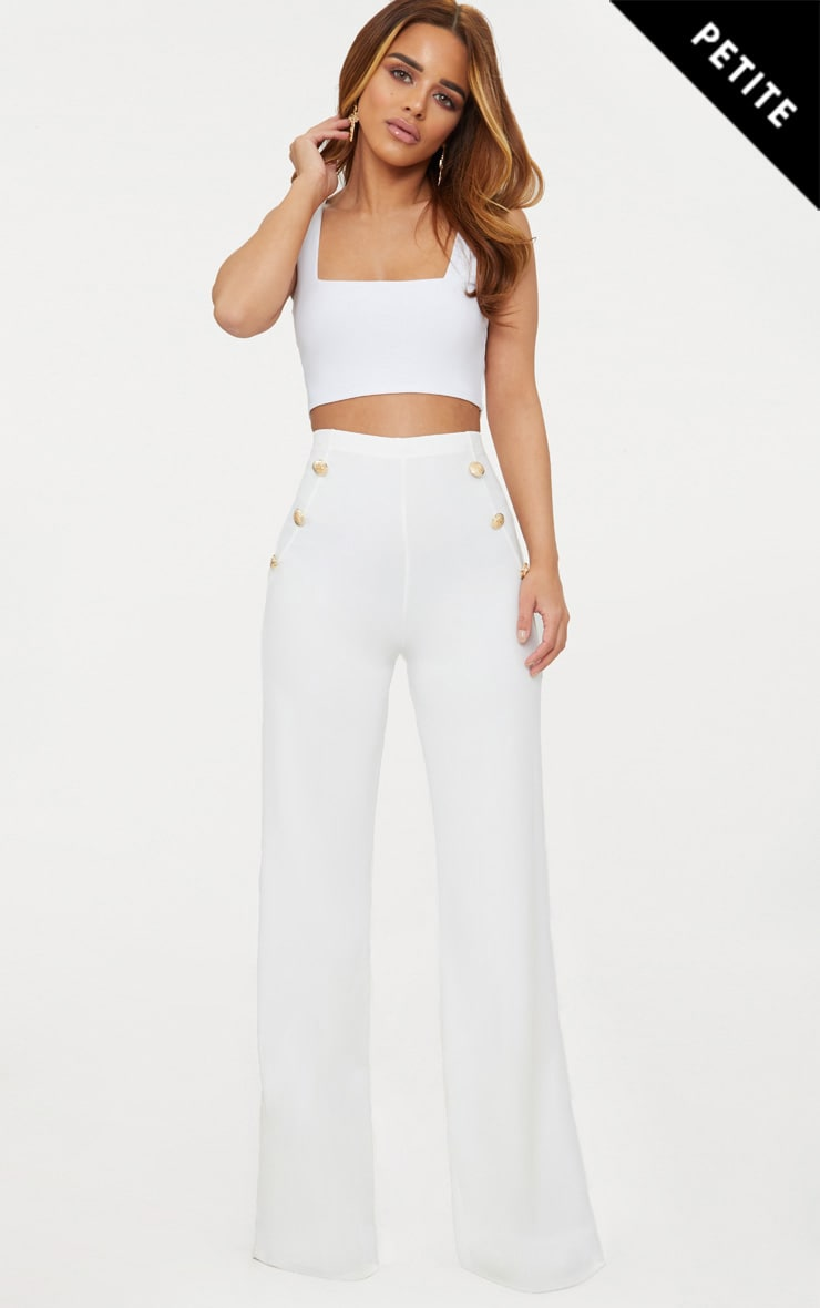 Petite White Military Button Wide Leg Trousers 1
