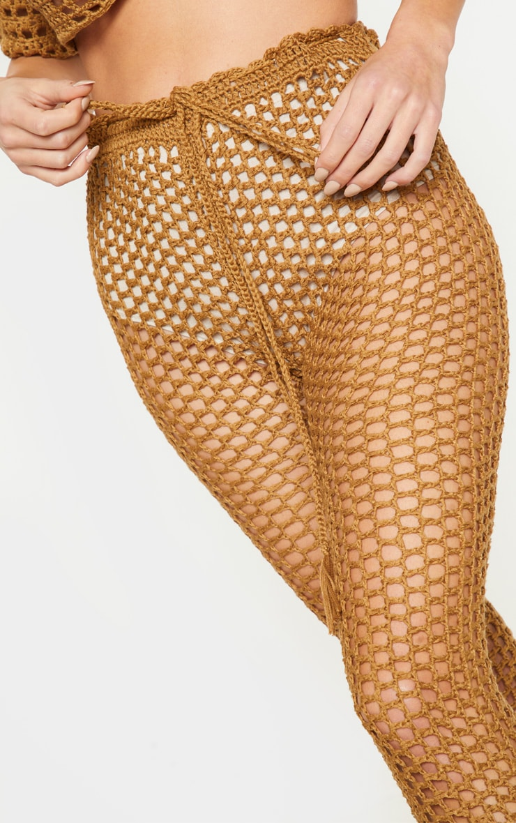 Taupe Crochet Trousers 5