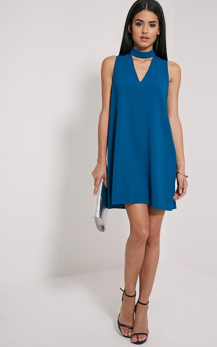 Cinder Teal Choker Detail Loose Fit Dress 3