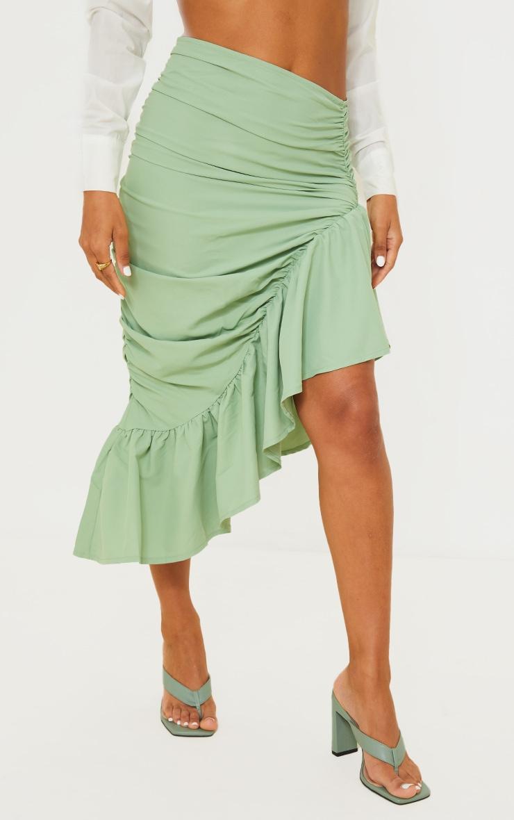 Sage Green Ruched Frill Hem Midi Skirt 2
