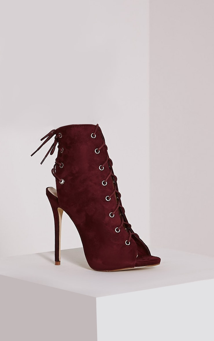 Ally Bordeaux Lace Up Cut Out Heel Boots 4