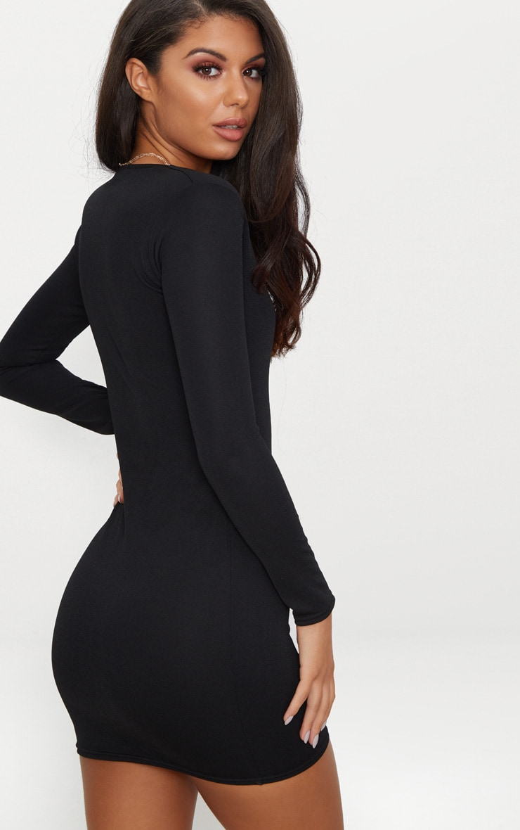 Black Long Sleeve V Bar Plunge Bodycon Dress 2