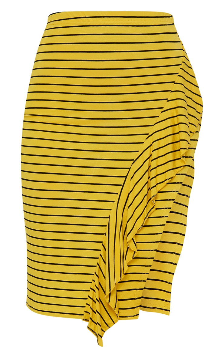 Mustard Stripe Split Side Ruffle Front Skirt  3