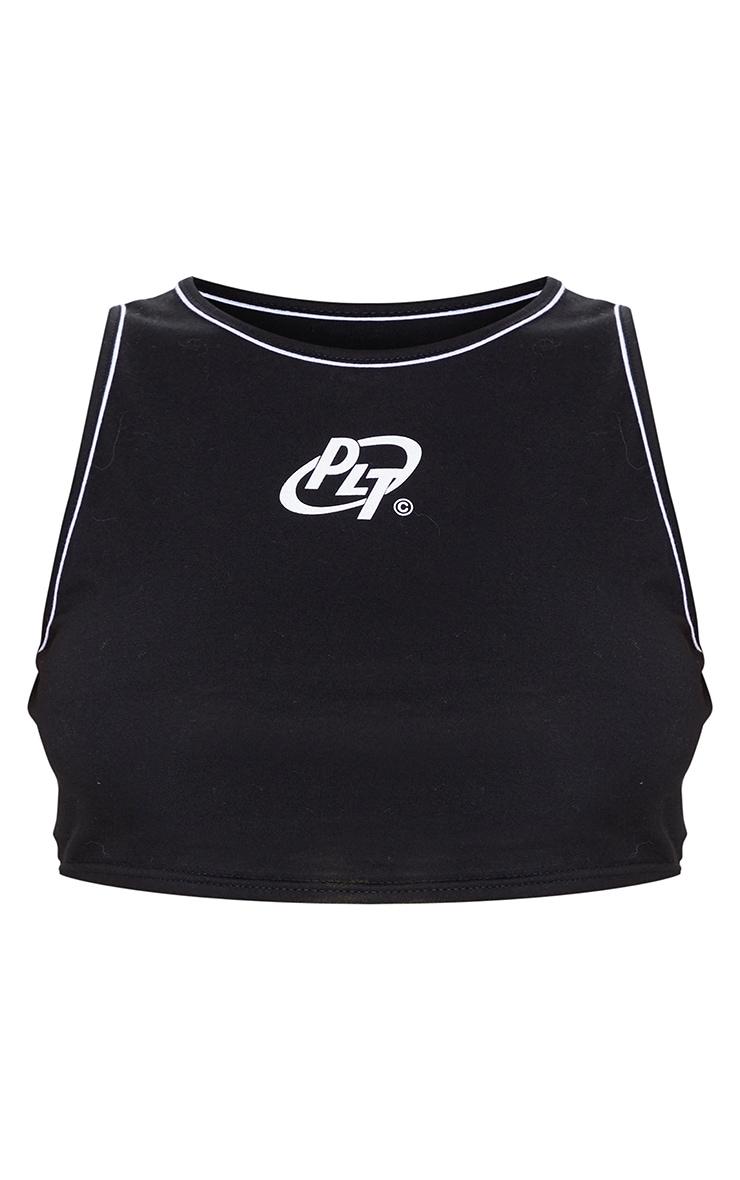 PRETTYLITTLETHING Black Jersey Logo Racer Contrast Binding Crop Top 5