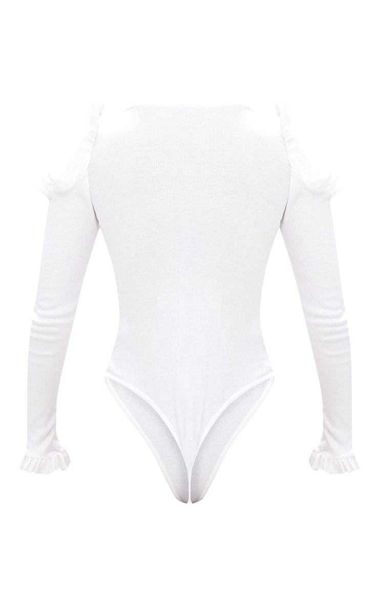 White Cold Shoulder Frill Ribbed Bodysuit 3