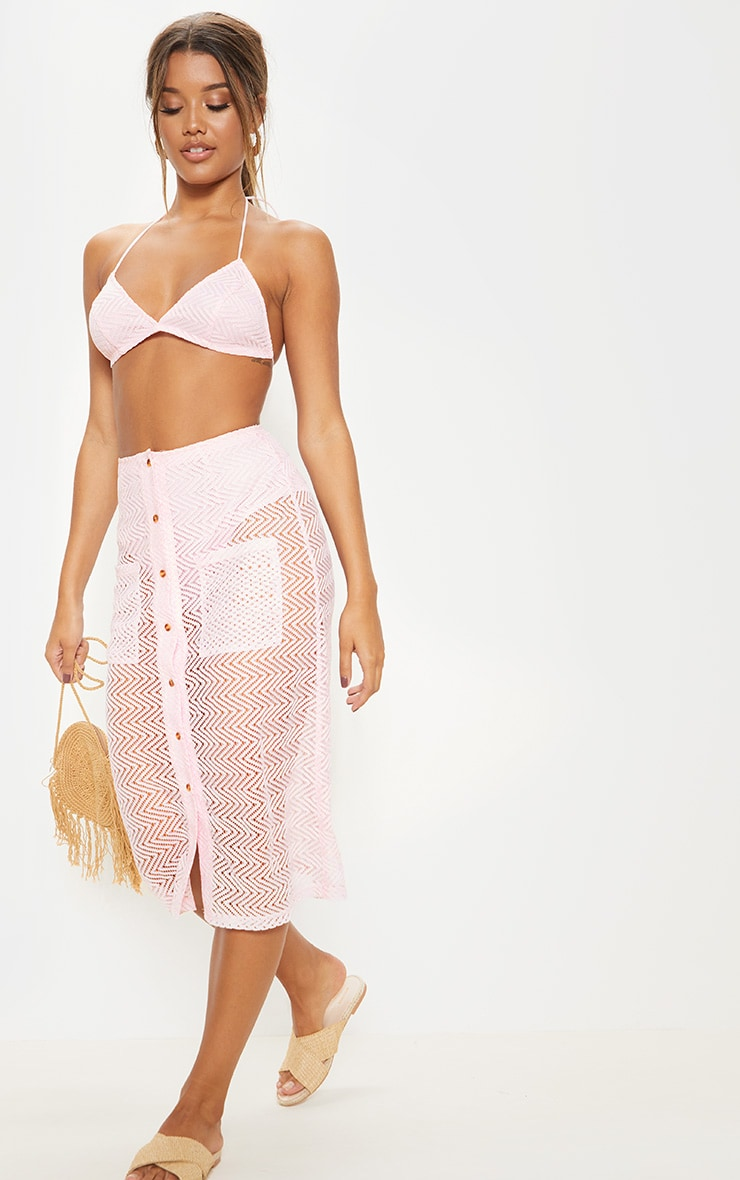 Baby Pink Crochet Triangle Bralet 4