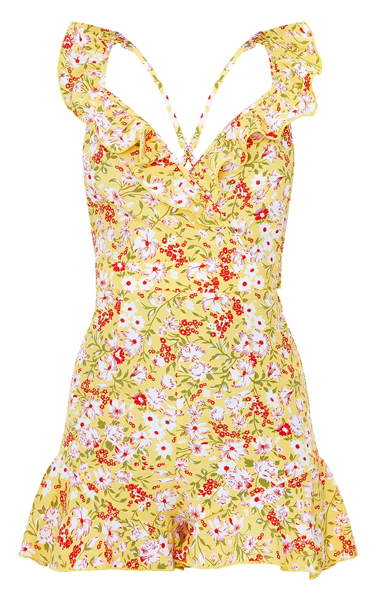 Yellow Floral Tie Back Frill Detail Playsuit 5