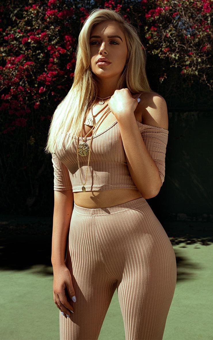 Shape Anusha Nude Ribbed Cold Shoulder Crop Top Co-ord 6