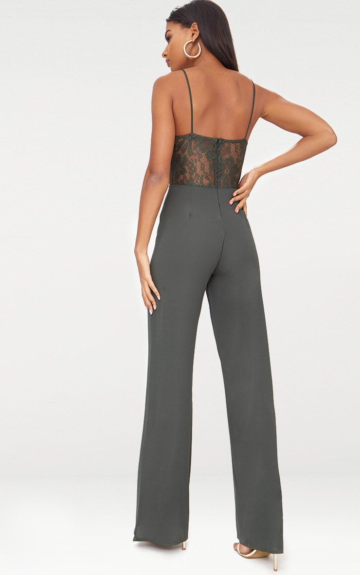 Khaki Lace Wide Leg Lace Jumpsuit 2