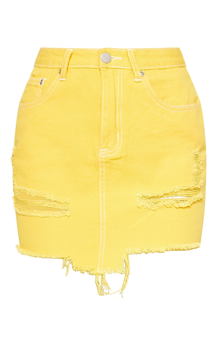 Yellow Contrast Stitch Denim Skirt  3