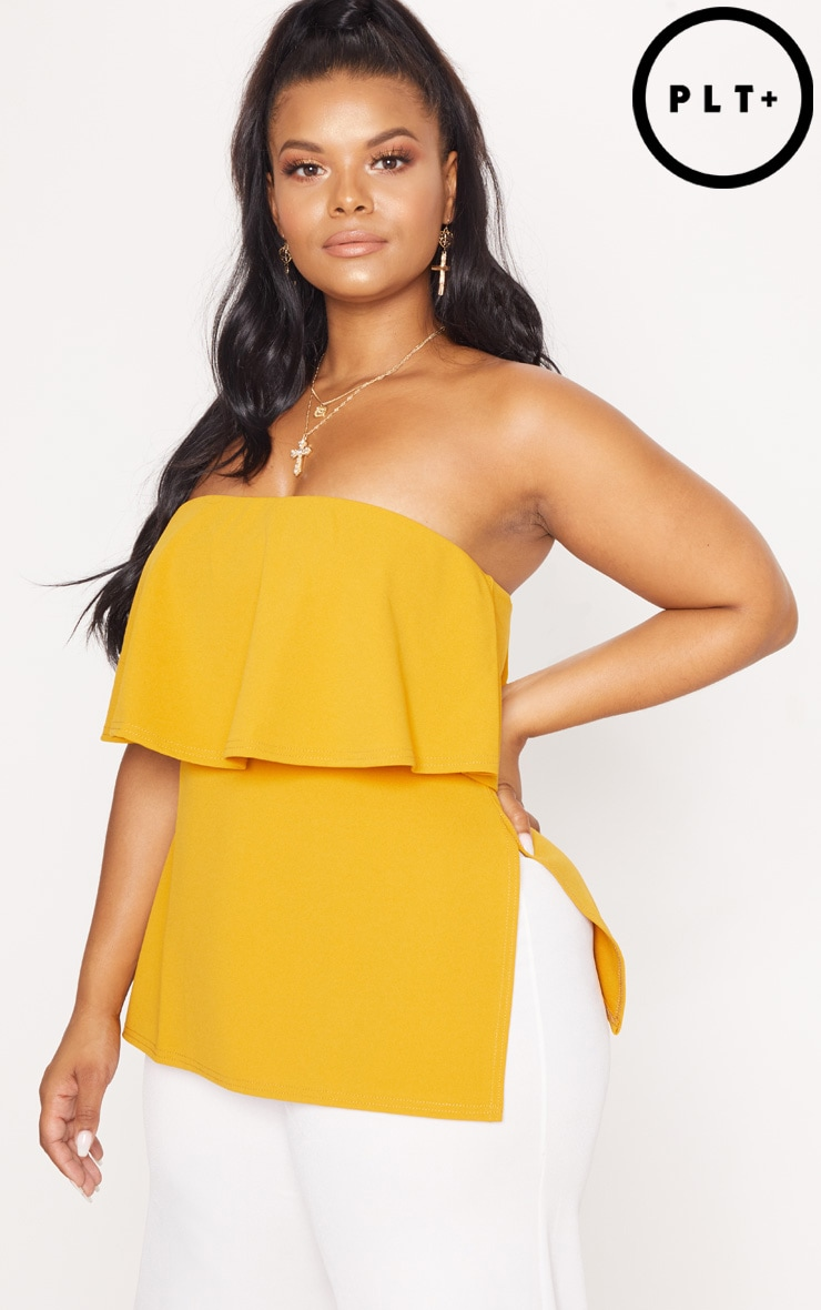 Plus Mustard Bandeau Frill Overlay Top
