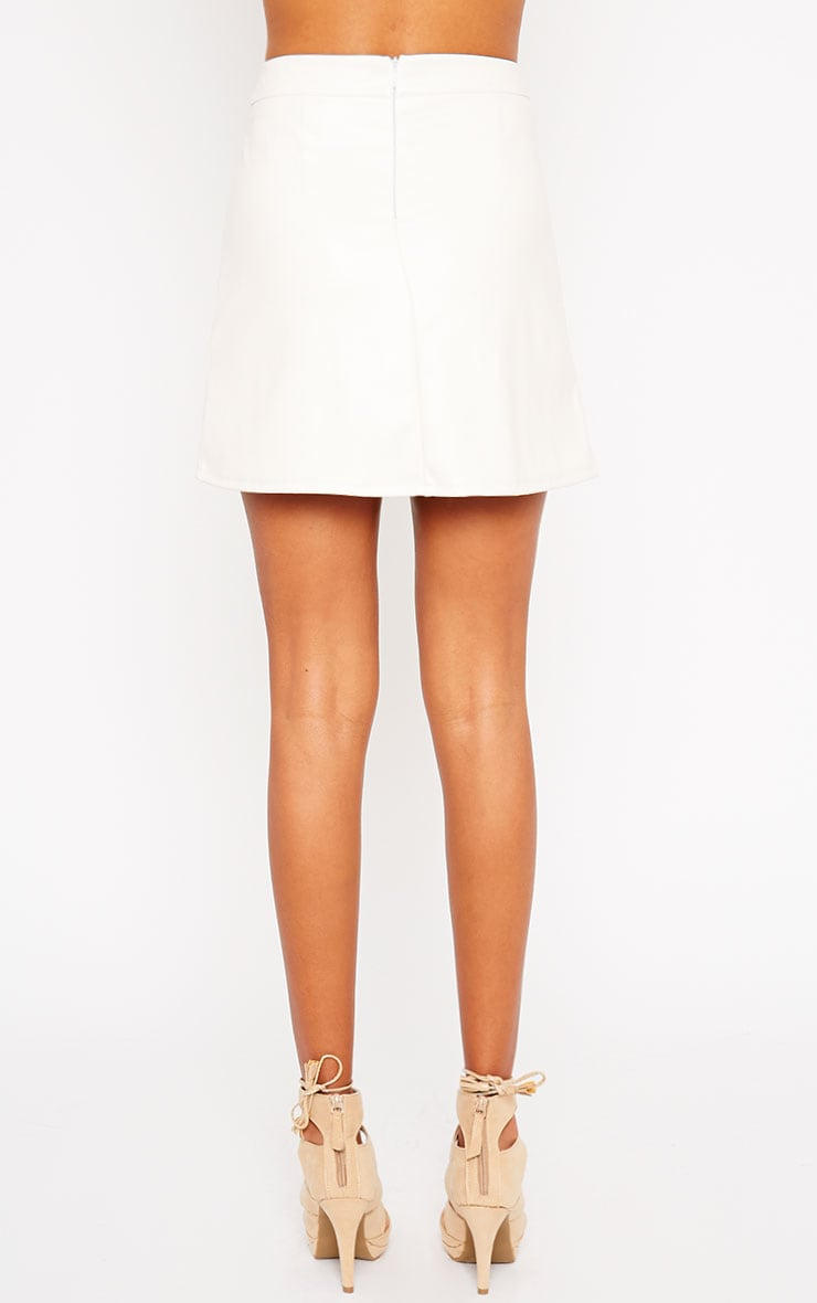 Rose Cream Faux Leather Mini Skirt  4