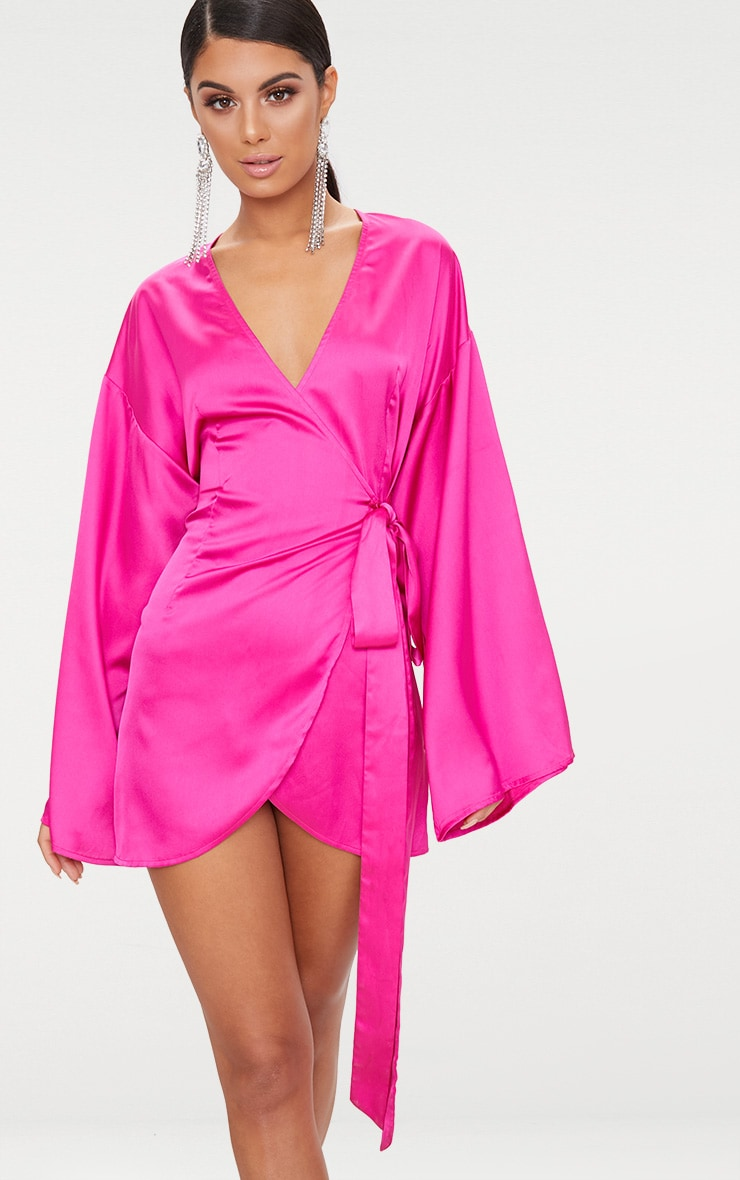 Fuchsia Wrap Long Kimono Sleeve Dress  2