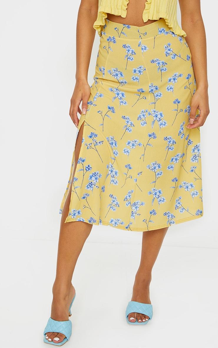 Yellow Floral Floaty Midi Skirt 2