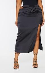 Plus Black Cross Front Satin Split Maxi Skirt 2