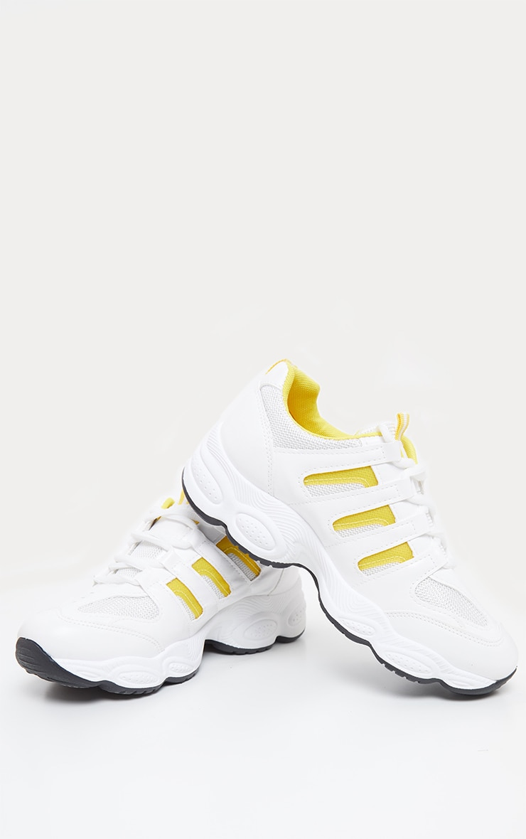 Yellow Cut Out Panel Lace Up Trainer 3