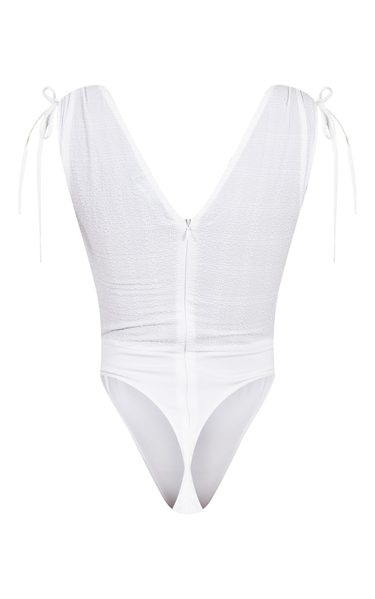 White Textured Woven Plunge Ruched Bodysuit 6