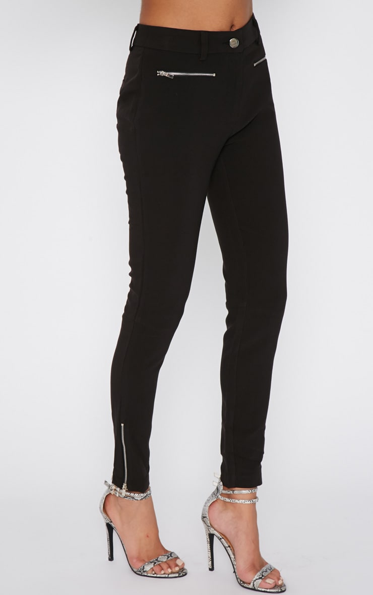 Larisa Black Zip Cigarette Trouser  3