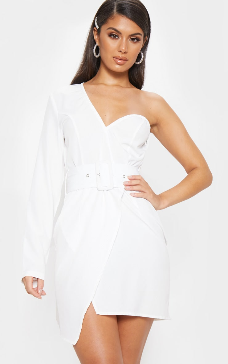 White One Shoulder Belted Bodycon Dress 1