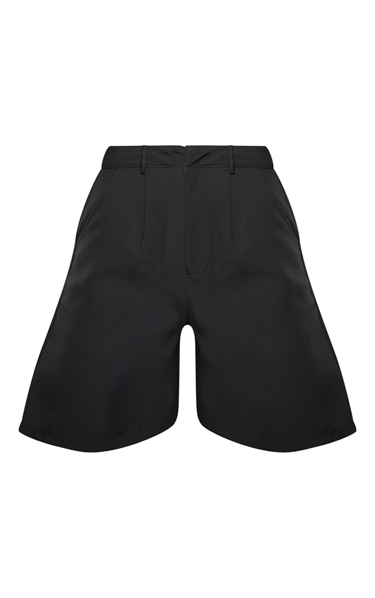 Black Woven Tailored Shorts 6