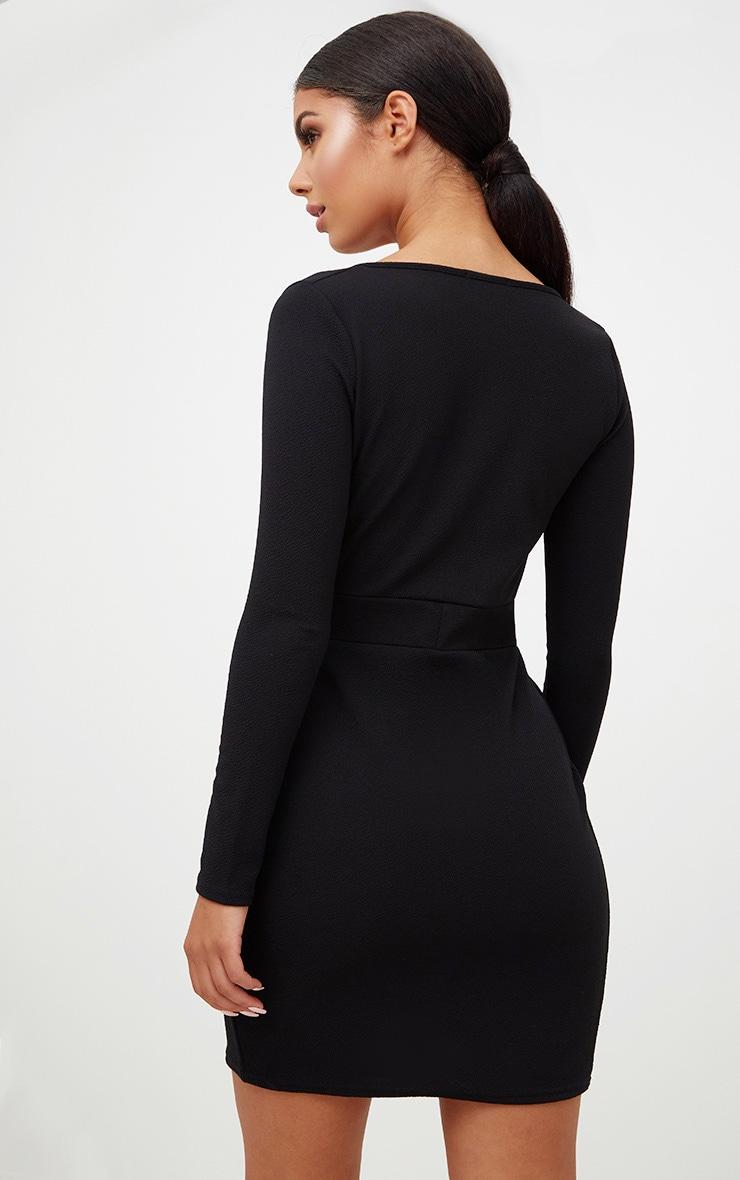 Black Plunge Wrap Detail Thigh Split Bodycon Dress 2