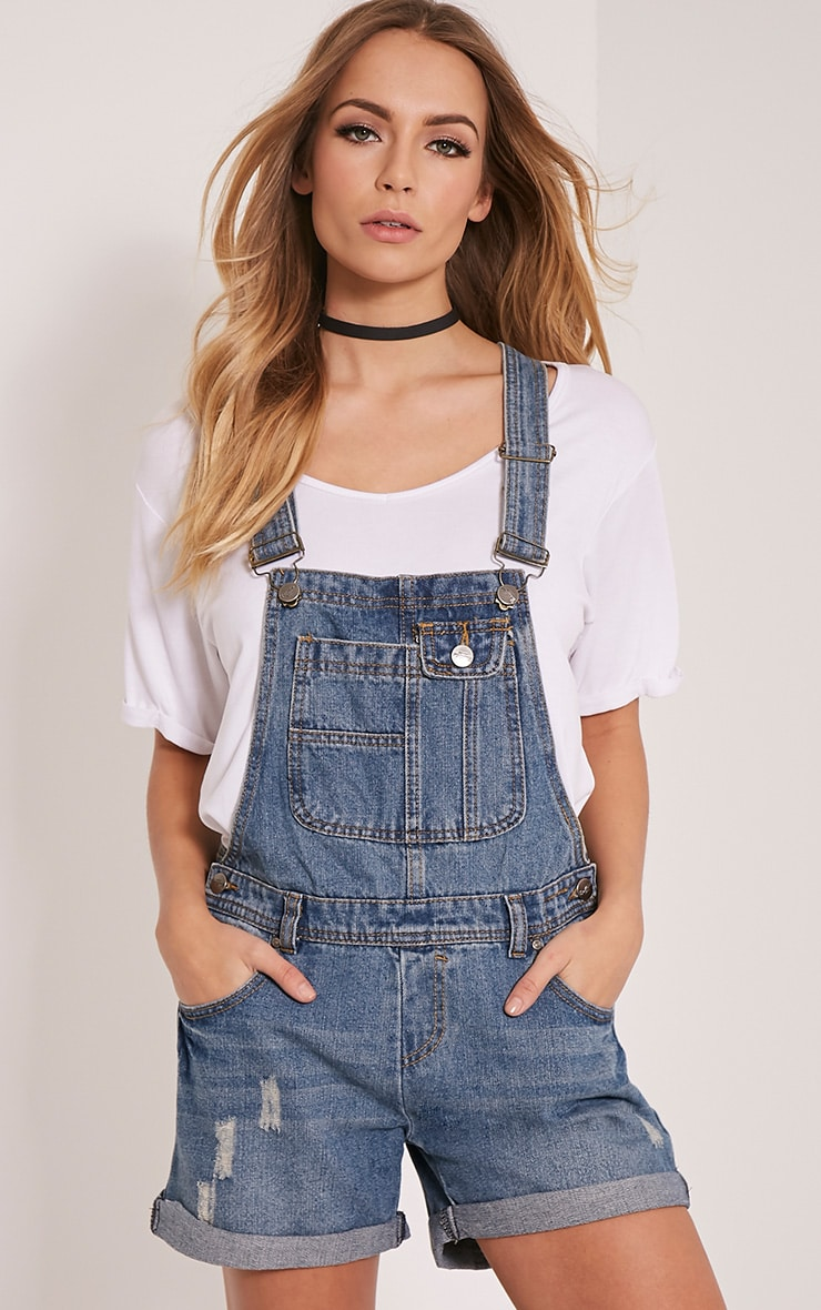 100% satisfaction buying new outstanding features Arina Blue Denim Dungaree Shorts