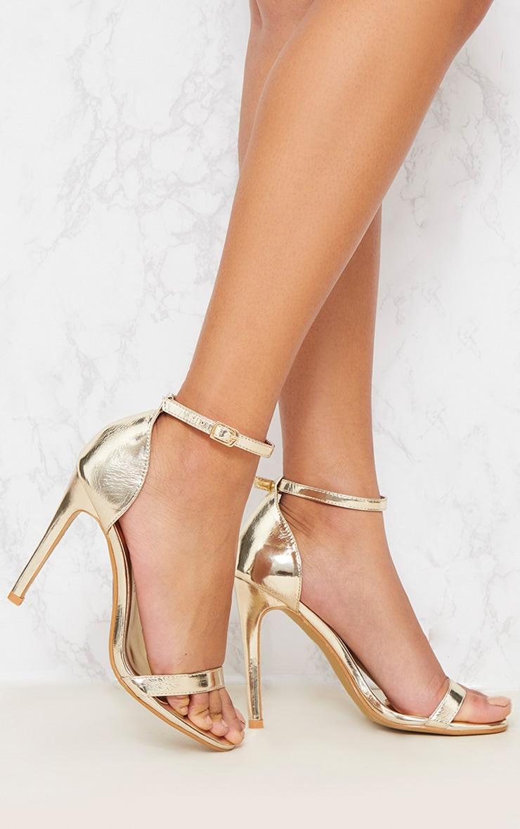 Gold Metallic Heeled Strappy Sandal