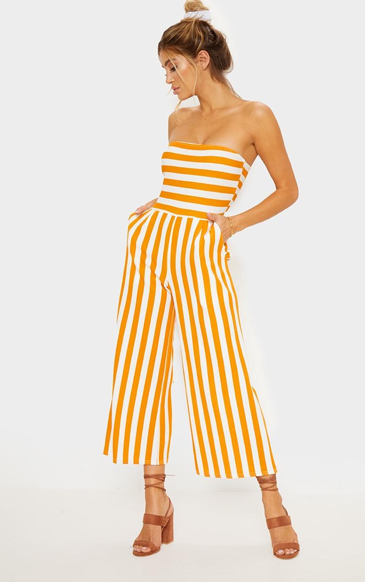 Mustard Contrast Stripe Bandeau Culotte Jumpsuit 1
