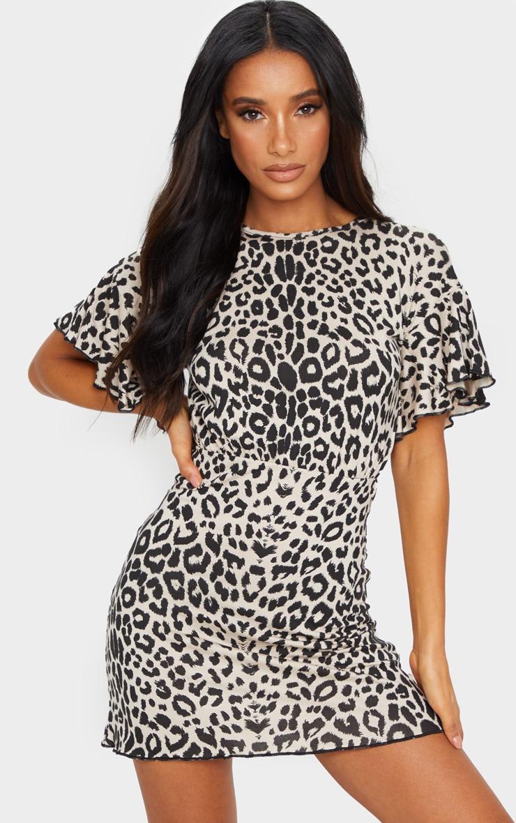Brown Leopard Print Frill Hem Detail Shift Dress 1