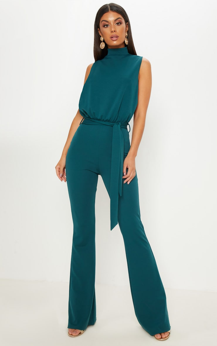 Emerald Green Scuba High Neck Tie Waist Jumpsuit 4