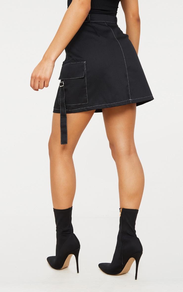 Black Contrast Stitch Buckle Pocket Detail A Line Skirt 4