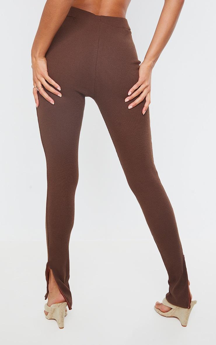 PRETTYLITTLETHING Chocolate Ribbed Zip Split Hem Leggings 3