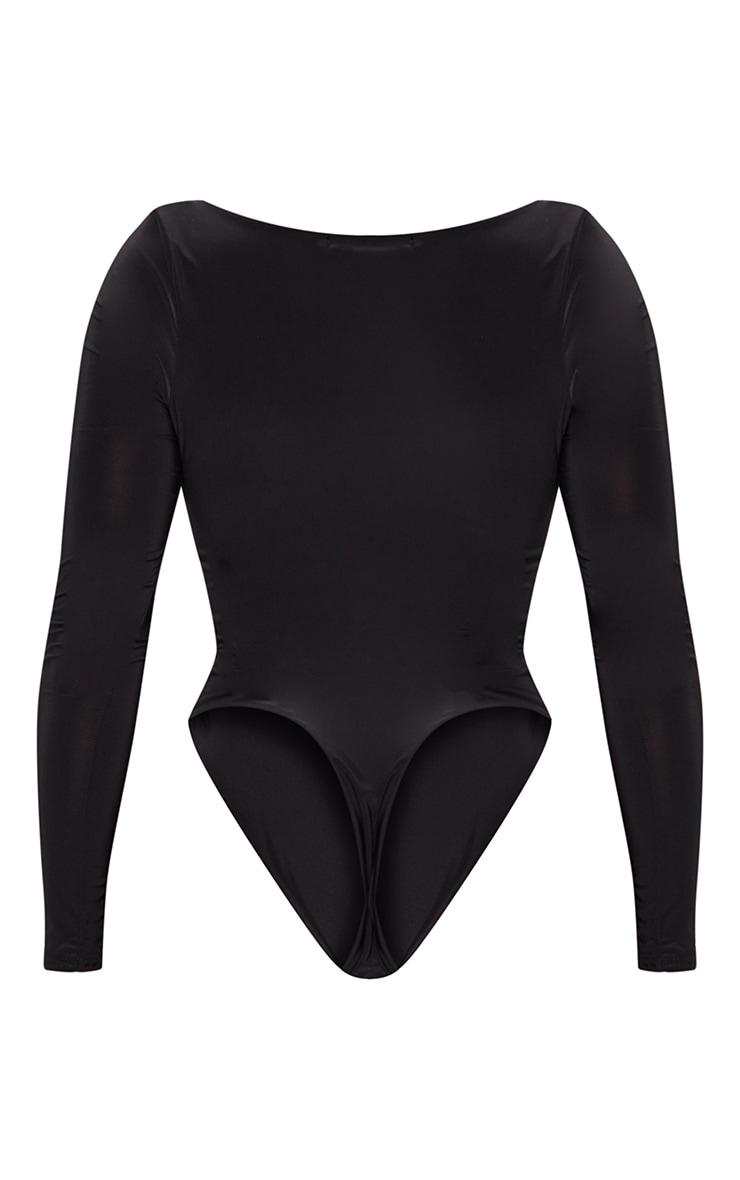 Shape Black Slinky Scoop Neck Bodysuit 4