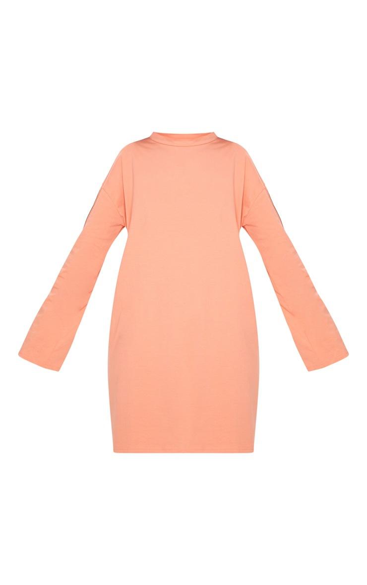 PRETTYLITTLETHING Neon Peach Tape Long Sleeve T Shirt Dress 3